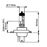 Halogeninė lemputė H4 12V60/55W  (1206001) Germany