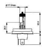 Halogeninė lemputė (cokolis P45T seno pavyzdžio) H51210