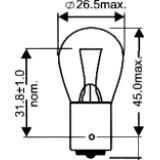 Lemputė vieno kontakto S25 1221  (cokolis BA15S) (bespalvė)