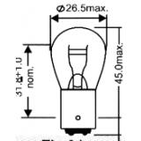 Lemputė dviejų kontaktų S25 12V 21/5W(cokolis BAY15D)
